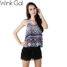 Wink Gal Summer Style Fashion Bohemian Beach Women Tank Tops Floral Printing Cropped Top