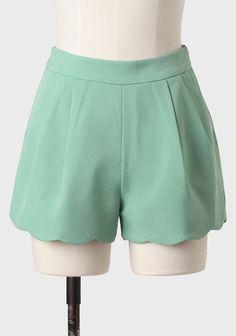 Arlington Scalloped Shorts In Sage at ShopRuche.com