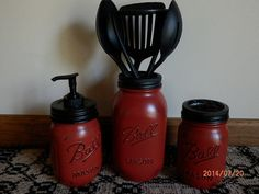 Hey, I found this really awesome Etsy listing at https://www.etsy.com/listing/197100584/kitchen-set-three-piece-red-mason-jar