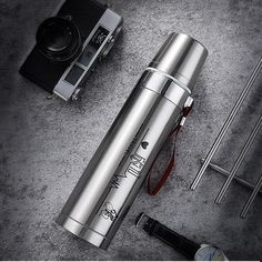 750ml large capacity stainless steel thermos portable vacuum with rope – Creationsg Stainless Steel Thermos, Stainless Steel Water Bottle, Portable Vacuum, Travel Cup, Vacuum Flask, Insulated Water Bottle, Cool Kitchens, Tumbler, Coffee Mugs