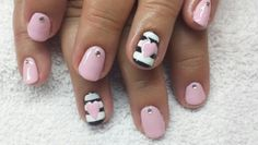Girly pink heart stripe nails
