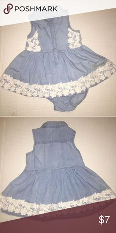 Denim dress Adorable sleeves light washed denim dress with  white lace trimming. I absolutely love this dress, my little one was able to use it during spring with a lightweight cardigan. However it work year around. EUC worn once like new. Guess Dresses
