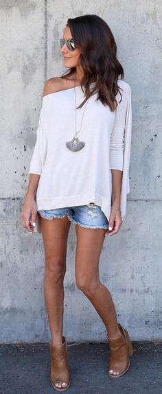 #summer #outfits  White One Shoulder Knit   Ripped Denim Short