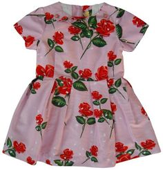 Dominique Ver Eecke - dress roses - A magic dress in a soft pint with red roses. Sweet collar with vintage buttons. Fully lined with white cotton. Zipper in the back. 100% cotton.