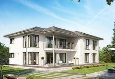 Celebration 282 V4 - Bien Zenker - http://www.hausbaudirekt.de/haus/celebration-282-v4/ - Fertighaus als Modernes Haus Stadthaus Zweifamilienhaus mit Satteldach