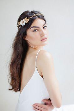 545cba754d2 Brides MagazineWedding Hair Accessories · Gold and white flower halo from  Jannie Baltzer