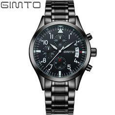 e763de7605 Luxury Watch Men Famous Brand GIMTO Business Men Watch 2017 Casual Quartz  Watch Stainless Steel Men Watch Waterproof Male Clock