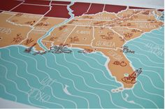 hand drawn map - south east detail doodles