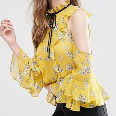 HDY Haoduoyi Autumn Women Fashion Vintage Floral Print Blouse Sexy Cold Shoulder Wraps Office Lady Slim Frill Sleeve Blouse