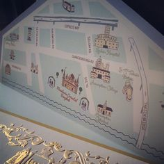 Map of the venue on the liner. How about that for being creative and practical at the same time. Invites, Wedding Invitations, Map, Creative, Weddings, Location Map, Wedding Invitation Cards, Maps, Wedding Invitation