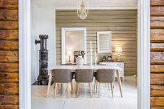I en ærverdig bygning med masse historie fra krigens dager fikk vi gleden av å innrede denne leiligheten. Her finner du massevis av sjarm! Tømmervegger, tregulv, originale peiser og store vinduer som slipper inn masse lys. Stylingen har et klassisk preg hvor nytt og gammelt møtes i skjønn forening. Oppdrag: Boligstyling Kategori: Komplett styling Stove, Dining Table, Furniture, Design, Home Decor, Decoration Home, Range, Room Decor, Dinner Table