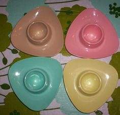 Vintage Neon Pastel Atomic Triangular Plastic Egg Cups by catomyn1, $16.00