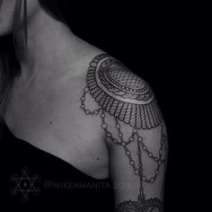 15 Fancy Epaulette Tattoos For Your Shoulders Cross Tattoos For Women, Tattoos For Women Half Sleeve, Shoulder Tattoos For Women, Tattoos For Women Small, Norse Tattoo, Viking Tattoos, Paisley Shoulder Tattoos, Symbol Tattoos With Meaning, Shoulder Armor Tattoo