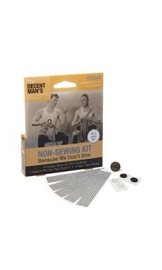 The Decent Man's Grooming Tools - Non-Sewing Kit, $4.95. Valentine's gift idea, haha.