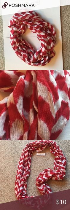 Red and White Circular Scarf Tags still on. Never worn. Light scarf, 100% rayon. Charming Charlie Accessories Scarves & Wraps