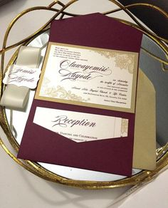 Gold and Burgundy Lace Pocket Wedding by OuttheBoxCreative on Etsy