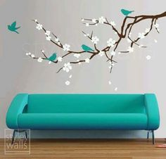 Decal for girls room: Cherry Blossom Branch Wall Decal Blossoming Almond Branch with Birds GIFT BIRDS Flower decal Children Nursery Kids Vinyl Wall Decal sticker Bird Wall Decals, Wall Decal Sticker, Wall Art, Wall Stickers Home, My New Room, My Room, Deco Addict, Wall Decor, Nursery