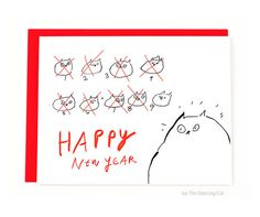 Funny Happy New Year Card  9 Lives  Cat New Years by jamieshelman
