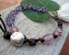 Amethyst Leather Sterling Bead Charm Bracelet by jodybrimhall, $78.00