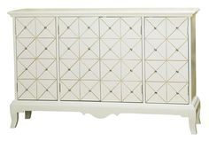 Diamond patterned four door white and gold with crystals console Accentrics Home by Pulaski  | The Decorating Diva, LLC