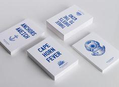 labels/monochromatic design/business cards - Seafarers & Ostro Restaurants Bar
