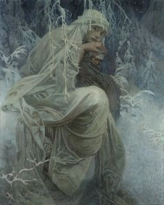 and sometimes, for some people, it's always a winter of depression ....  Alphonse Mucha (1860-1939), A Winter Tale, n.d.