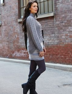 Bernat Hi-Lo Pullover - Cozy pullover featuring cables and an on-trend hi-lo hem - FREE P (hva)