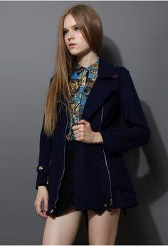 Navy Blue Zip Wool Trench Coat with Belt