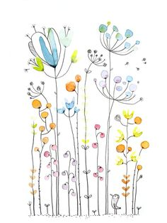 Cham Champléé Cham - Die Chosettes-Aquarell - Drawing Still 2020 Watercolor And Ink, Watercolour Painting, Watercolor Flowers, Painting & Drawing, Drawing Flowers, Easy To Draw Flowers, Watercolor Design, Body Painting, Simple Flower Drawing