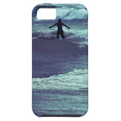 Silhouette of a man playing with sea waves / iPhone 5 Cover. #fomadesign