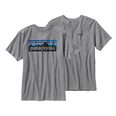 The Patagonia Logo Cotton T-shirt is made with U.-grown organic cotton and imprinted with a Patagonia original graphic using PVC- and phthalate-free inks. Organic Cotton T Shirts, Outdoor Outfit, Graphic Tees, Mens Tops, Christmas 2015, Xmas, Long Shirts, Men's Shirts, Preppy