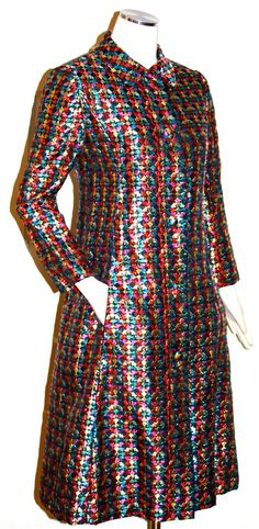 Rockstar Vintage MALCOLM STARR Metallic Multi-Colored Opera Coat Jacket Dress.