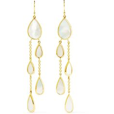 Ippolita Rock Candy 18-karat gold mother-of-pearl earrings (5,595 MYR) ❤ liked on Polyvore featuring jewelry, earrings, 18 karat gold earrings, 18k earrings, rainbow earrings, rock jewelry and chain earrings