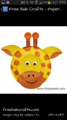 Giraffe paper plate art