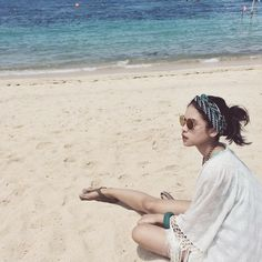 maudy ayunda on beach