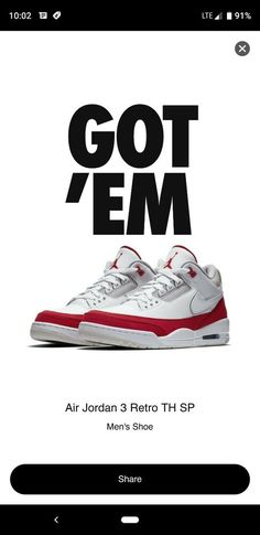 539a150c1bdc7 Nike Air Jordan 3 Retro TH SP Tinker Hatfield Air Max 1 OG Red White Sz