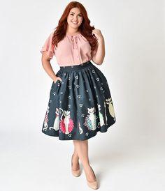 Unique Vintage Plus Size 1950s Style Fashion Felines High Waist Cotton Swing Skirt