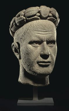 A ROMAN BASALT PORTRAIT HEAD OF THE EMPEROR PHILIP THE ARAB -  REIGN 244-249 A.D.
