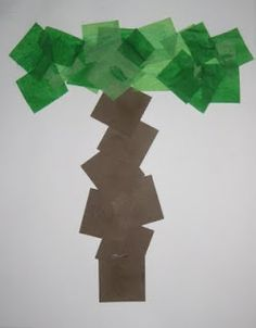 Letter T is for Tree- ripped paper/ tissue paper and contact paper for fine motor