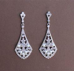 Bridal Chandelier Earrings Vintage style Crystal &  by JamJewels1, $54.00