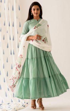 Mint Green Buttoned Tiered Long Dress Indian Gowns Dresses, Indian Fashion Dresses, Indian Designer Outfits, Designer Dresses, Indian Outfits, Dress Indian Style, Indian Wear, Stylish Dress Designs, Long Dress Design