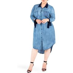 Plus Size Women's Standards & Practices High/low Denim Shirtdress ($98) ❤ liked on Polyvore featuring plus size women's fashion, plus size clothing, plus size dresses, frozen pond, plus size, shirt dress, women plus size dresses, tie dress, long shirt dress and blue denim dress