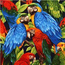 Tela multicolor pájaro tropical loro de Robert Kaufman