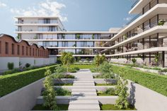 A home for all. The new condominium of Matosinhos Sul extends over 5 apartment blocks and 10 villas in an environment that inspires family well-being. Condominium, Villas, Portugal, Environment, Stairs, Real Estate, Interior Design, Luxury, Architecture