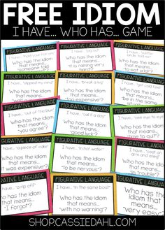 Looking for an engaging activity to practice common idioms with your students? This FREE I Have... Who Has... Game includes thirty-one common idioms.