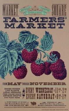 FARMERS MARKET RASPBERRIES Hand Printed Letterpress by YeeHaw, $30.00  Bought this for my nook!