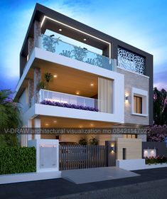 Exterior Home Design For Duplex - exterior home design for duplex Delightful in order to my website, on this moment I'll teach you about keyword. Modern Exterior House Designs, Modern House Facades, Small House Exteriors, Latest House Designs, Modern Architecture House, Cool House Designs, Modern House Design, Exterior Design, Minimalist House Design