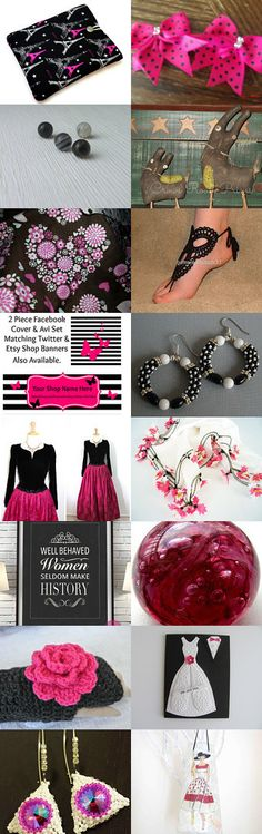 Pink is hot with black and white by Rosemary Grayson on Etsy--Pinned with TreasuryPin.com #februaryetsyfinds