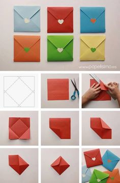 Origami Papier falten bunten Umschlag - List of the most creative DIY and Crafts Origami Paper Folding, Origami Diy, Oragami, Paper Folding Crafts, Origami Gifts, Origami Boxes, Dollar Origami, Origami Ball, Origami Ideas