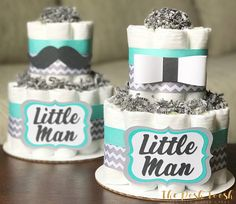 Little Man Gentleman Diaper Cake Boy Teal Grey Bowtie
